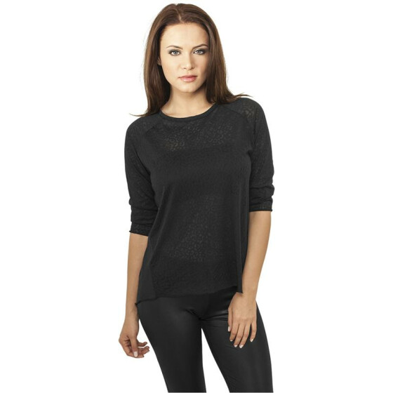 Urban Classics Ladies 3/4 Sleeve Wide Burnout Tee, black