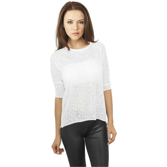Urban Classics Ladies 3/4 Sleeve Wide Burnout Tee, white