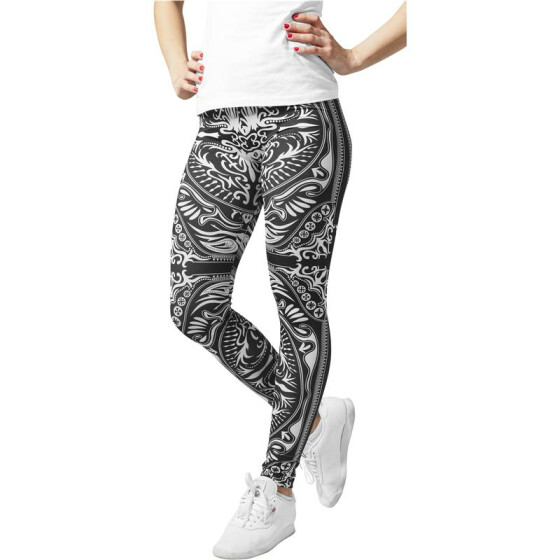 Urban Classics Ladies Ornament Leggings, blk/wht