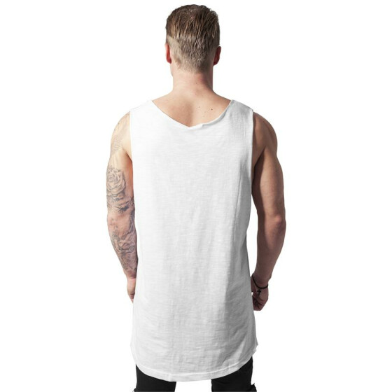 Urban Classics Long Shaped Open Edge Loose Tank, white