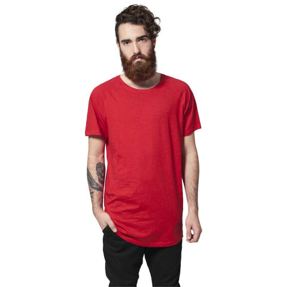 Urban Classics Long Shaped Slub Raglan Tee, fire red