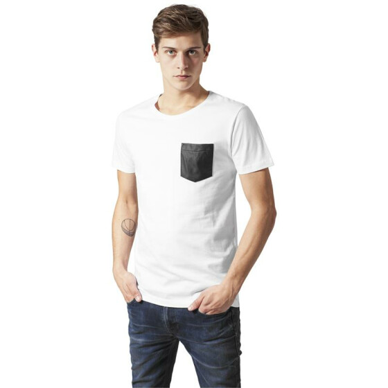 Urban Classics Leather Imitation Pocket Tee, wht/blk