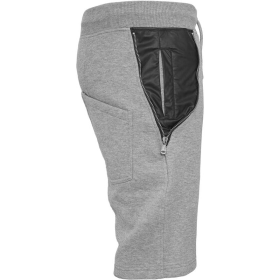 Urban Classics Side-Zip Leather Imitation Sweatshorts, gry/blk