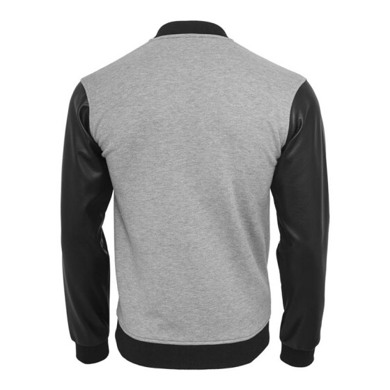 Urban Classics Zipped Leather Imitation Sleeve Jacket, gry/blk