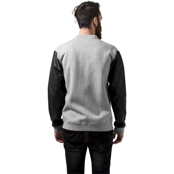 Urban Classics Zipped Leather Imitation Sleeve Jacket, gry/blk/gry
