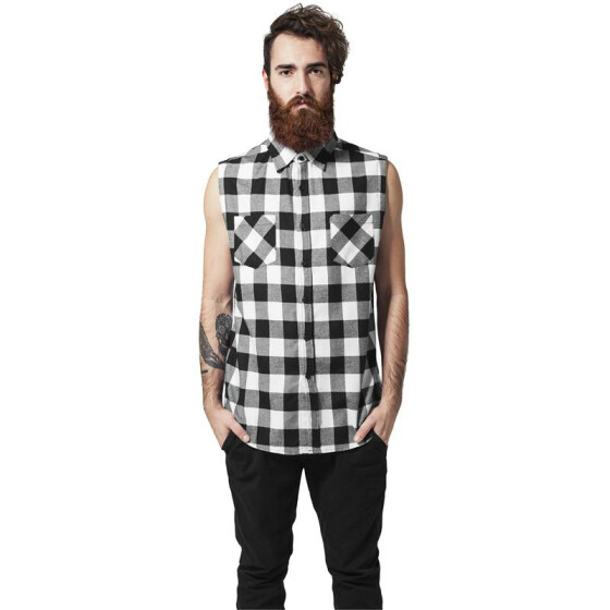 Urban Classics Sleeveless Checked Flanell Shirt, blk/wht