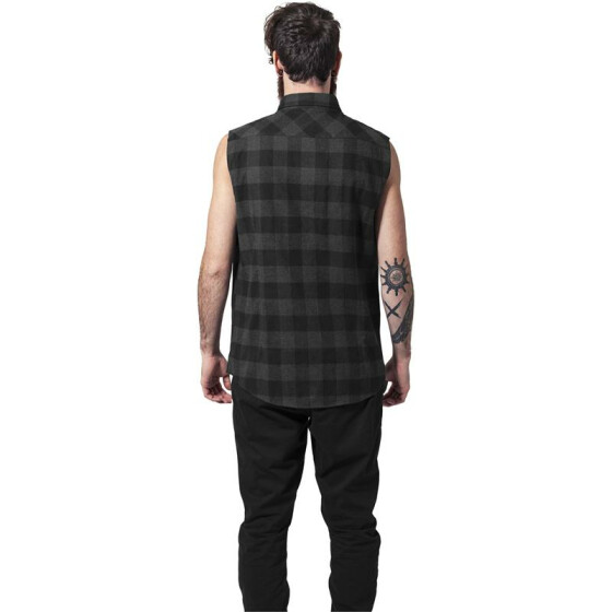 Urban Classics Sleeveless Checked Flanell Shirt, blk/cha