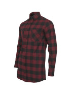 Urban Classics Long Checked Flanell Shirt, blk/burgundy XL