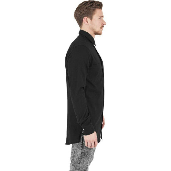 Urban Classics Side-Zip Long Checked Flanell Shirt, blk/blk S
