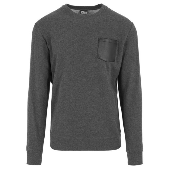 Urban Classics Contrast Pocket Crewneck, charcoal/leather XS