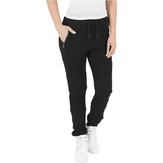 Urban Classics Ladies Melange Biker Sweatpants, blk/blk XL