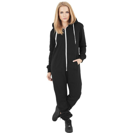 Urban Classics Ladies Sweat Jumpsuit, blk/wht XS