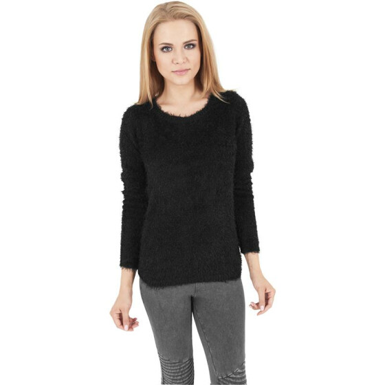 Urban Classics Ladies Nylon Feather Crew, black XS