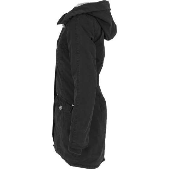 Urban Classics Ladies Garment Washed Long Parka, black S