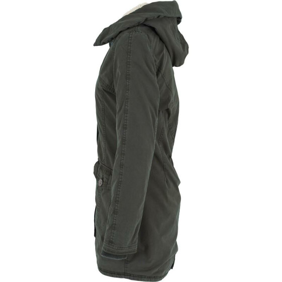 Urban Classics Ladies Garment Washed Long Parka, olive XS