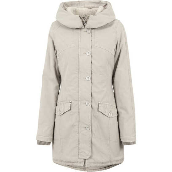 Urban Classics Ladies Garment Washed Long Parka, sand S