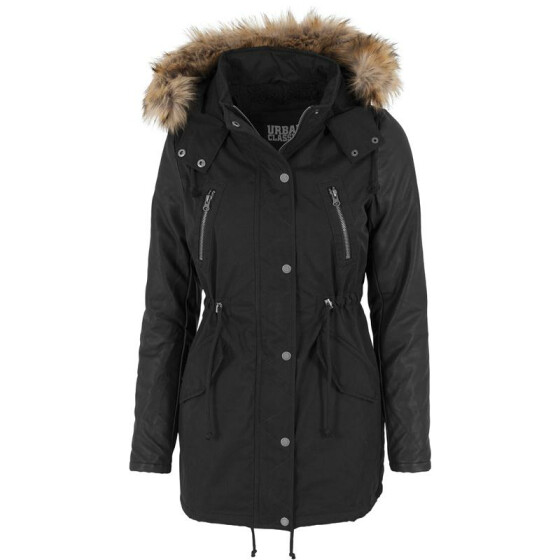 Urban Classics Ladies Leather Imitation Sleeve Parka, blk/blk M