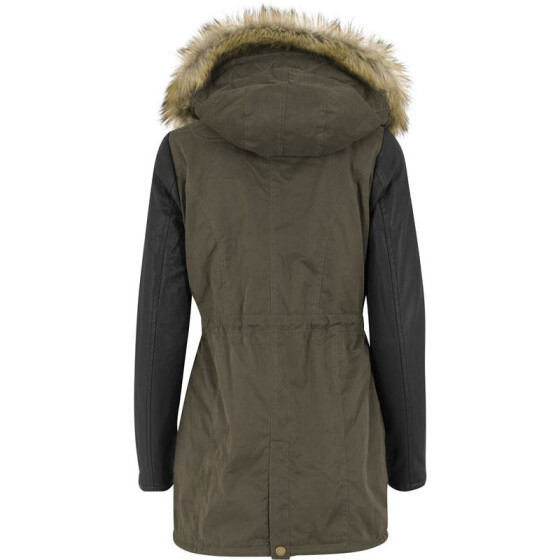 Urban Classics Ladies Leather Imitation Sleeve Parka, olv/blk XS