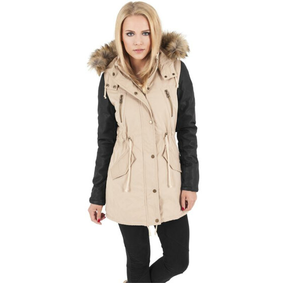Urban Classics Ladies Leather Imitation Sleeve Parka, sand/blk XS