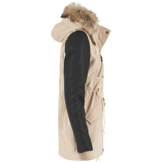 Urban Classics Ladies Leather Imitation Sleeve Parka, sand/blk S