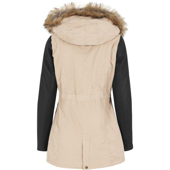 Urban Classics Ladies Leather Imitation Sleeve Parka, sand/blk M