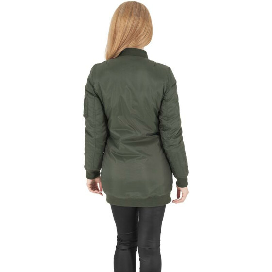 Urban Classics Ladies Long Bomber Jacket, olive M