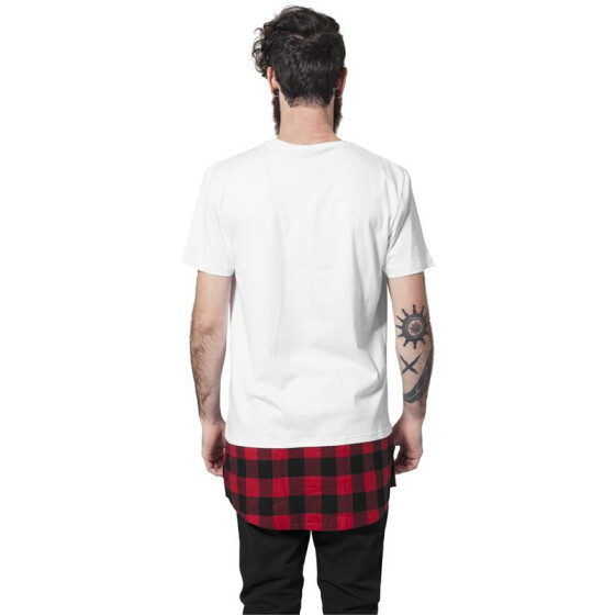 Urban Classics Long Shaped Flanell Bottom Tee, wht/blk/red L