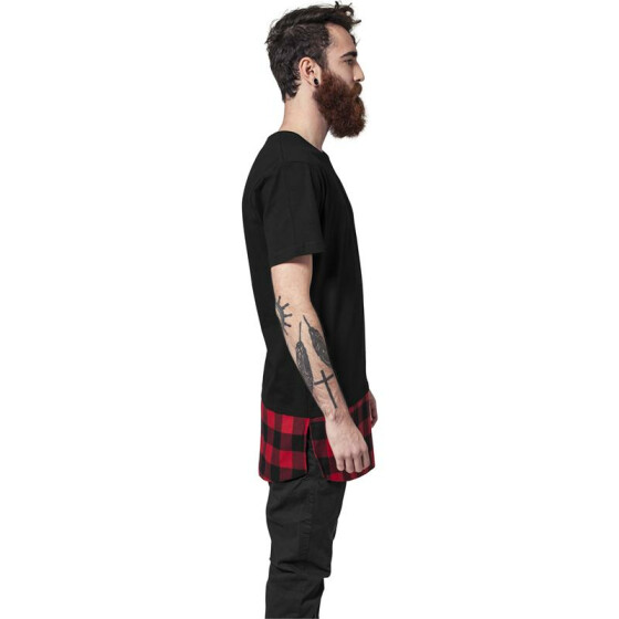 Urban Classics Long Shaped Flanell Bottom Tee, blk/blk/red M