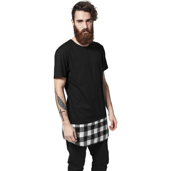 Urban Classics Long Shaped Flanell Bottom Tee, blk/blk/wht S