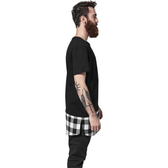 Urban Classics Long Shaped Flanell Bottom Tee, blk/blk/wht L