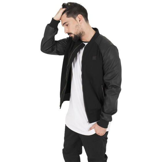 Urban Classics Cotton Bomber Leather Imitation Sleeve Jacket, blk/blk XXL