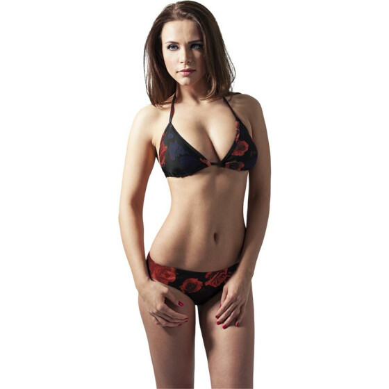 Urban Classics Ladies Triangle Bikini, flower red XS