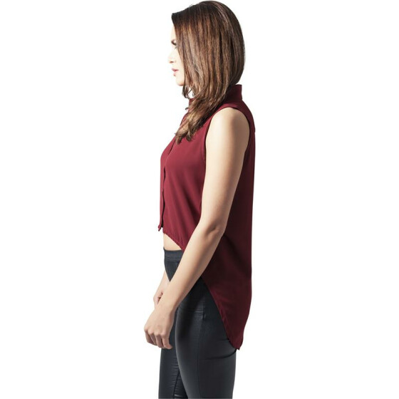 Urban Classics Ladies HiLo Sleeveless Blouse, burgundy M