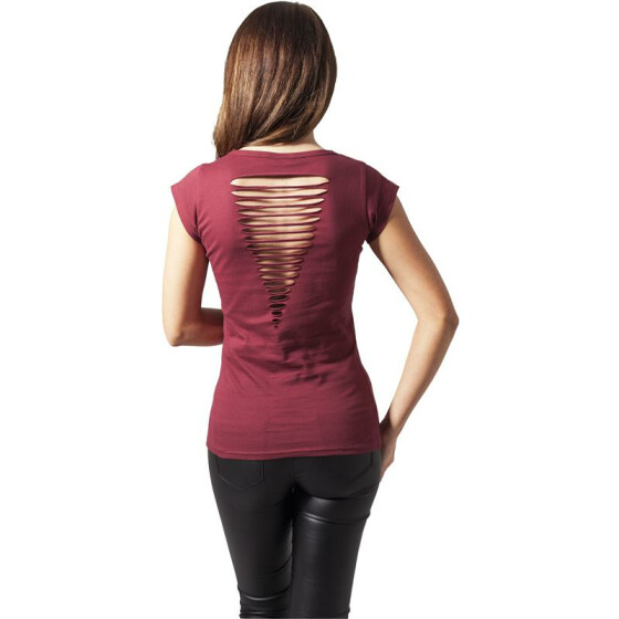 Urban Classics Ladies Cutted Back Tee, burgundy XS