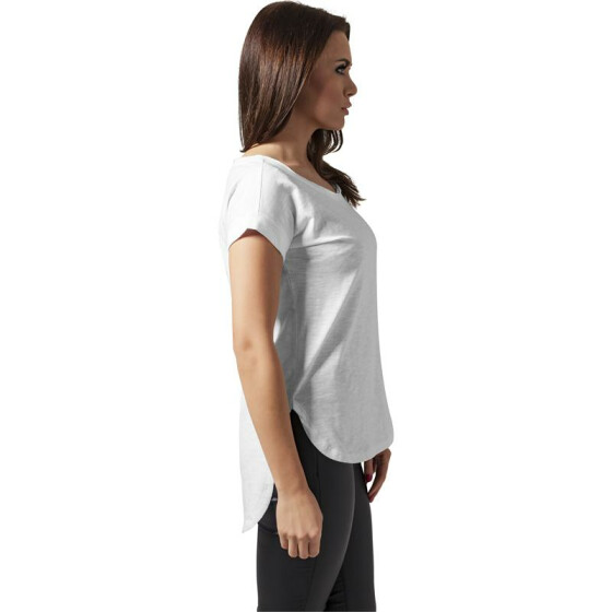 Urban Classics Ladies Long Back Shaped Slub Tee, white S