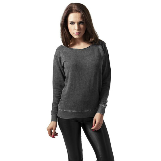 Urban Classics Ladies Burnout Open Edge Crew, darkgrey XL