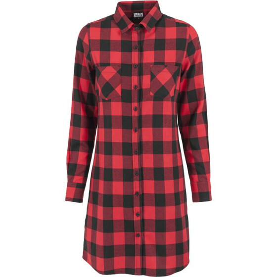 Urban Classics Ladies Checked Flanell Shirt Dress, blk/red XS
