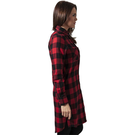 Urban Classics Ladies Checked Flanell Shirt Dress, blk/red M