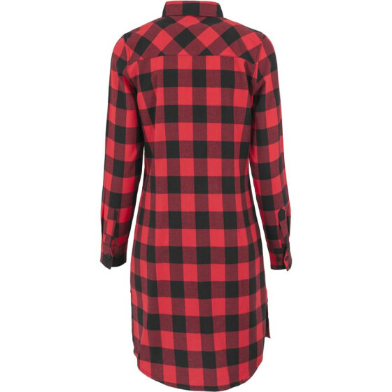 Urban Classics Ladies Checked Flanell Shirt Dress, blk/red XL