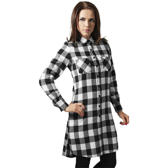 Urban Classics Ladies Checked Flanell Shirt Dress, blk/wht XS