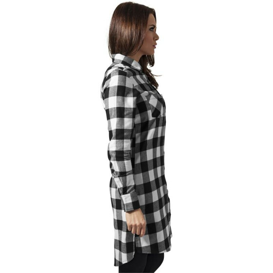 Urban Classics Ladies Checked Flanell Shirt Dress, blk/wht L