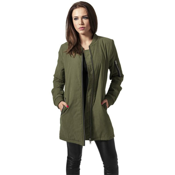 Urban Classics Ladies Peached Long Bomber Jacket, olive S