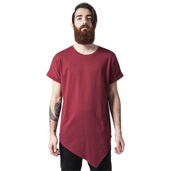 Urban Classics Asymetric Long Tee, burgundy S