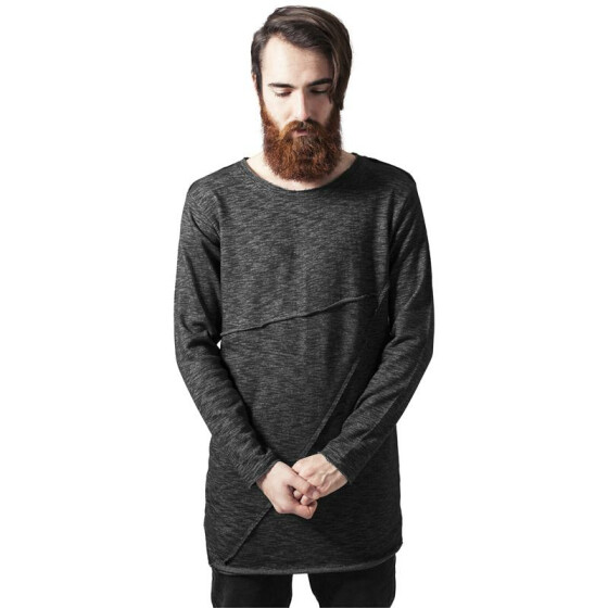 Urban Classics Fashion Long Terry Crew, black melange XXL
