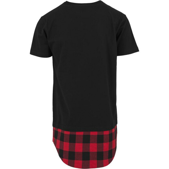 Urban Classics Long Shaped Flanell Bottom Pocket Tee, blk/blk/red XXL