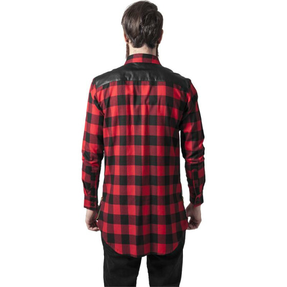 Urban Classics Side Zip Leather Shoulder Flanell Shirt, blk/red XL