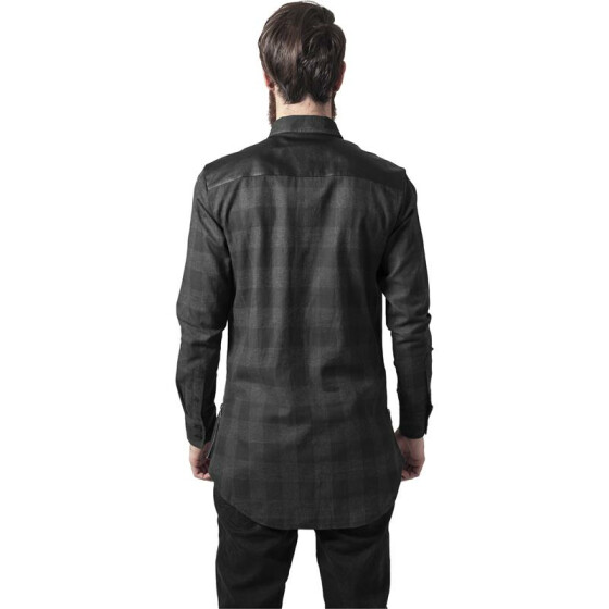 Urban Classics Side Zip Leather Shoulder Flanell Shirt, blk/cha XXL