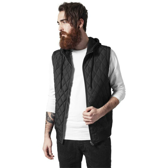 Urban Classics Diamond Quilted Hooded Vest, blk/blk S