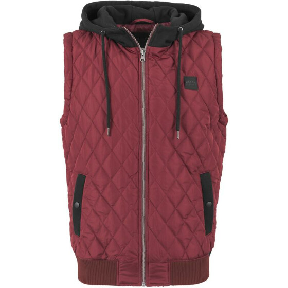 Urban Classics Diamond Quilted Hooded Vest, burgundy/black L