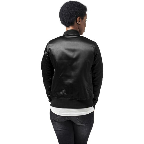 Urban Classics Ladies Satin Bomber Jacket, black S